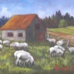 Moutons au pré, 7x9